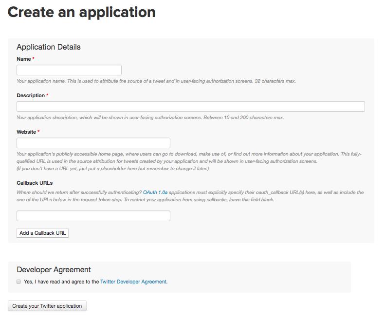 Twitter Application Management設定